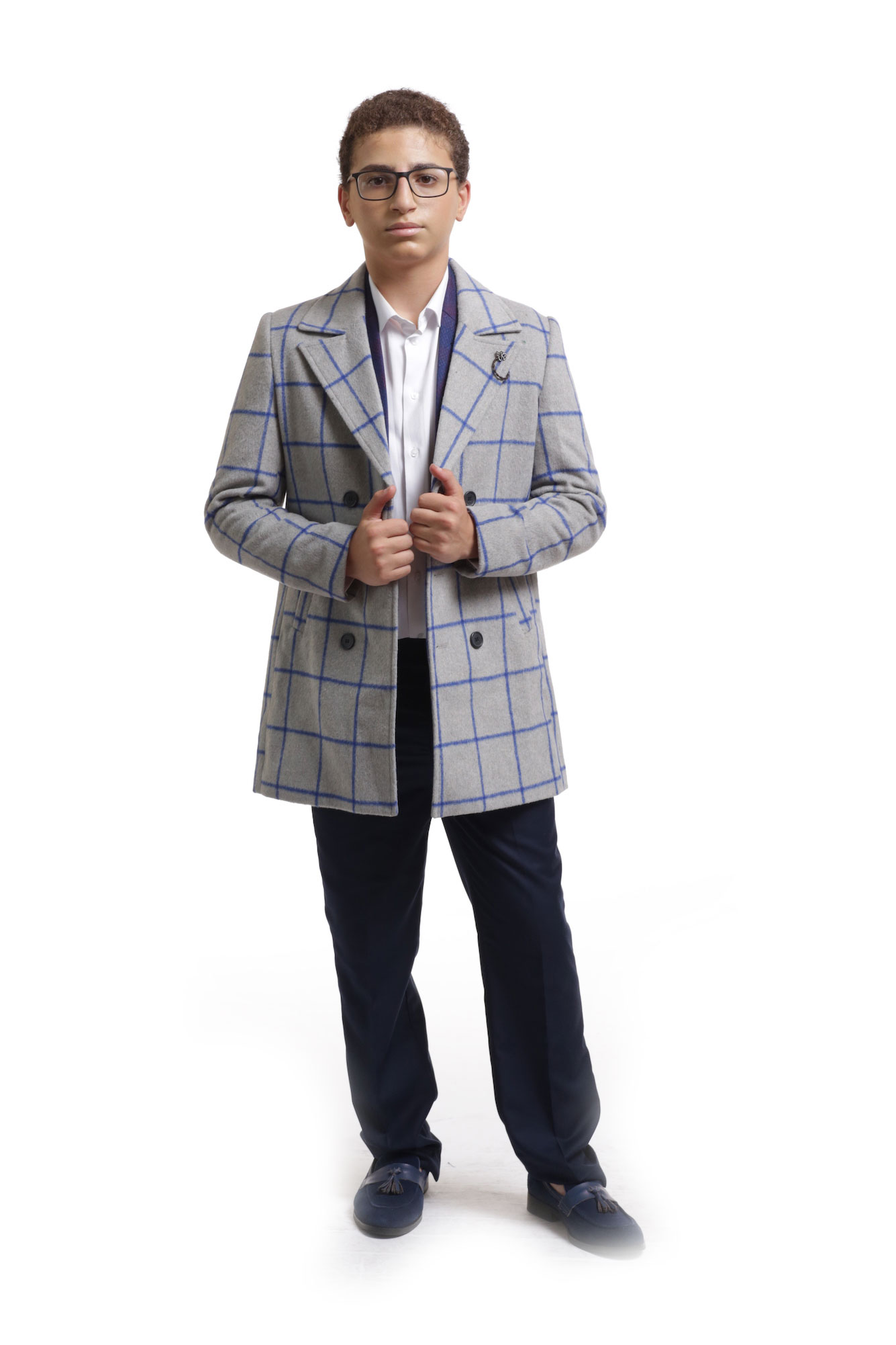 Elie Balleh Royal Grey Plaid Boys/Coats
