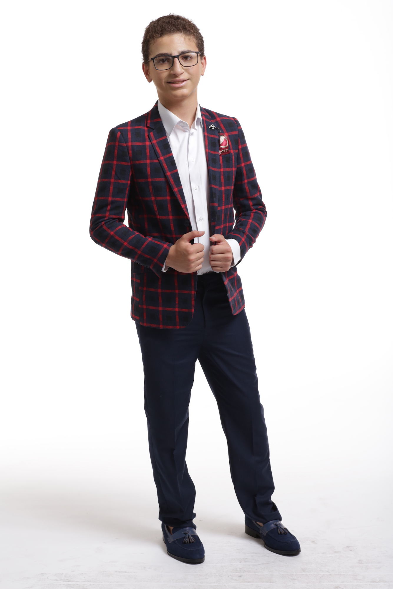 Elie Balleh Wild Red Checkered Boys's Blazers - Sports Coat Jacket