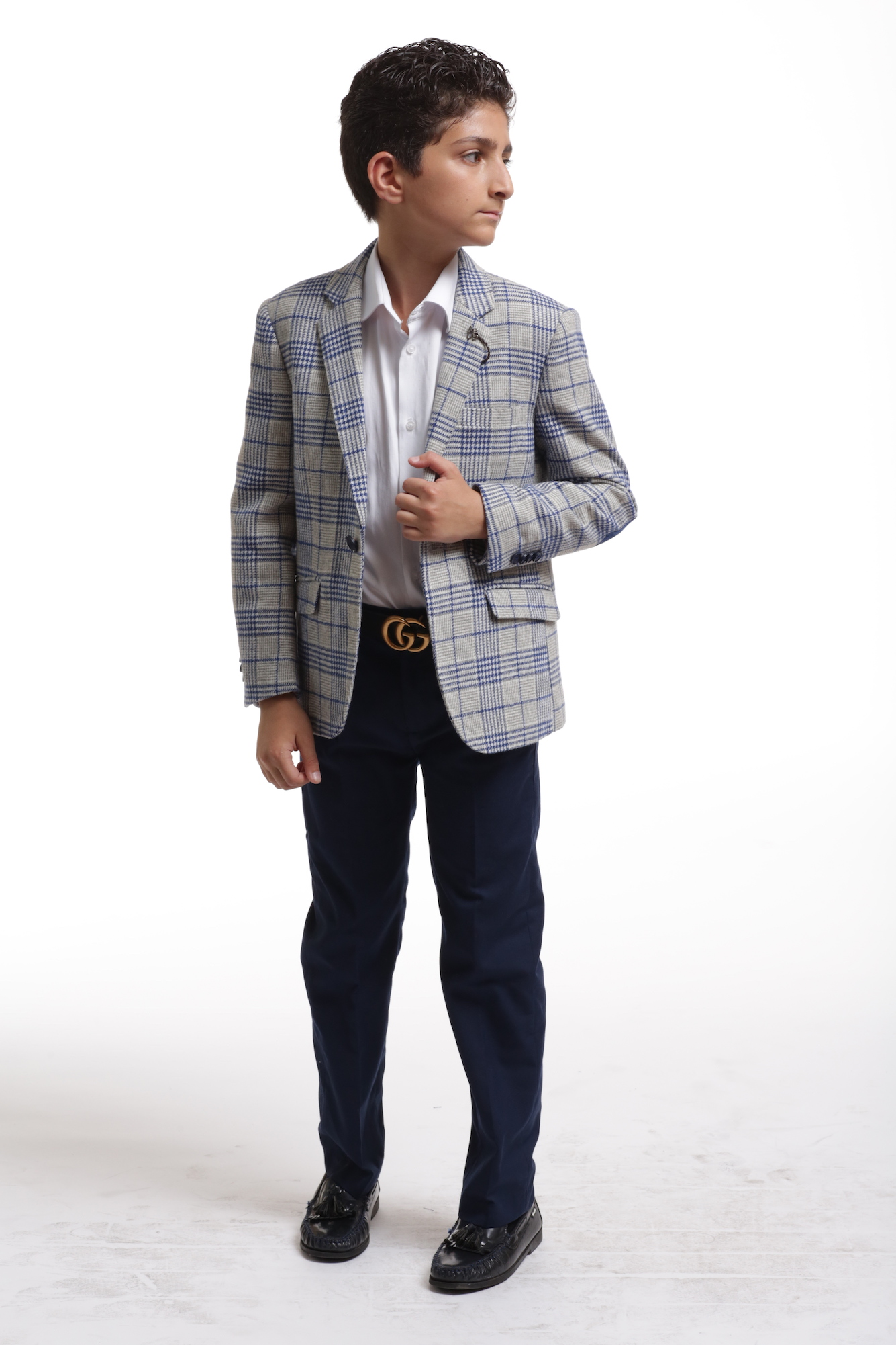 Elie Balleh Royal Grey Plaid Boys's Blazers - Sports Coat Jacket