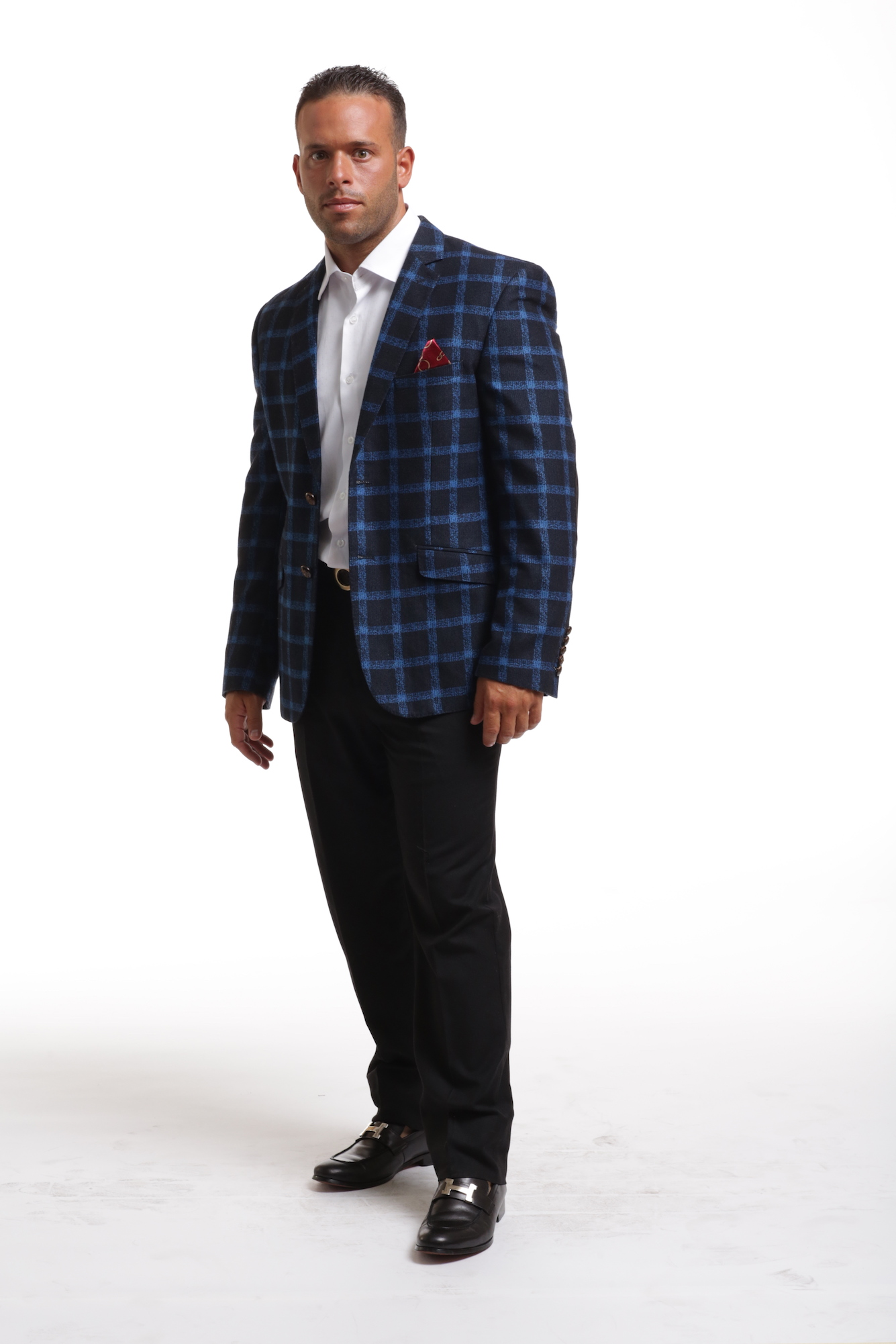 Wild Royal Plaid Men's Blazer/Jacket CEBBW1815M