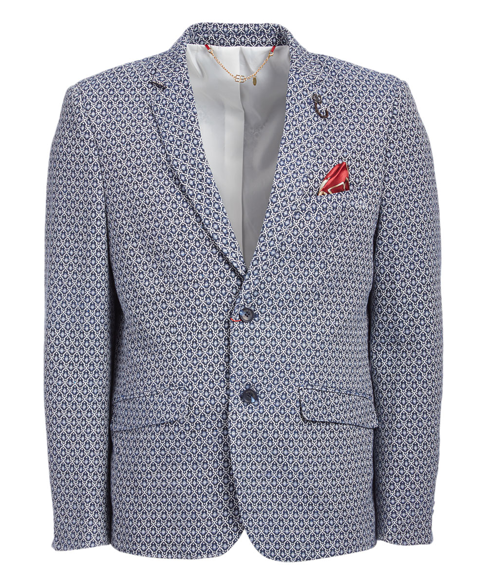 Navy Geometric Brocade Men's Blazer/Jacket EBBS1850M