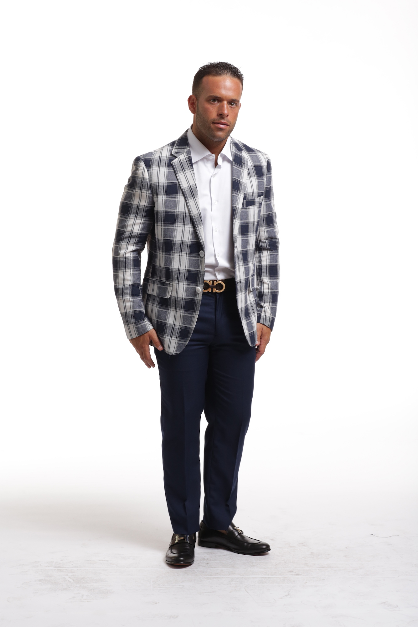 Navy & White Plaid Men's Blazer/Jacket EBBS1852M