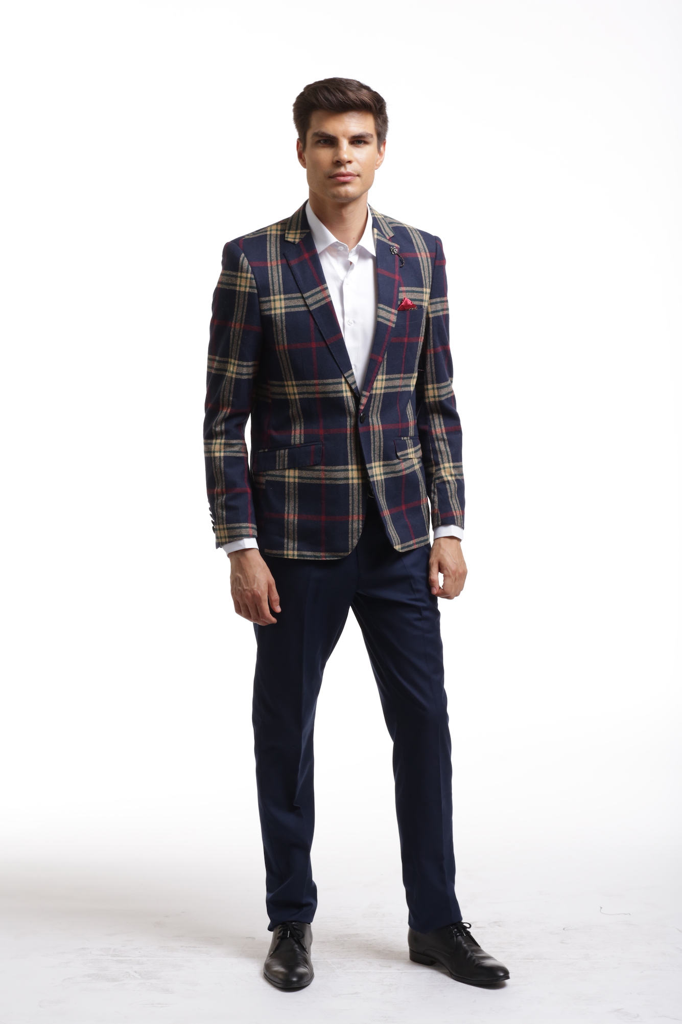 Navy Red Plaid Men's Blazer/Jacket EBBW1835M