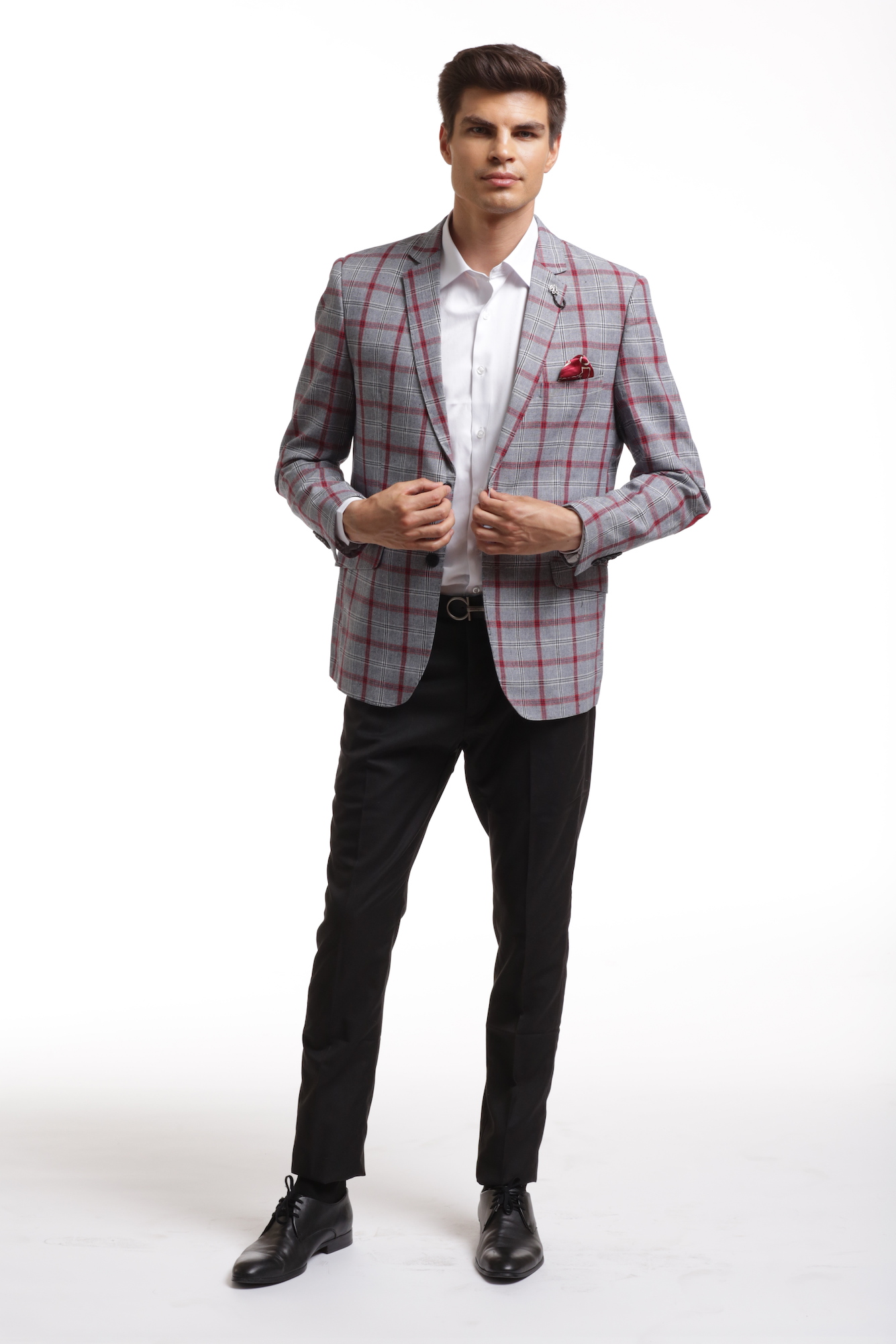 Grey Plaid Men's Blazer/Jacket EBBW1861M