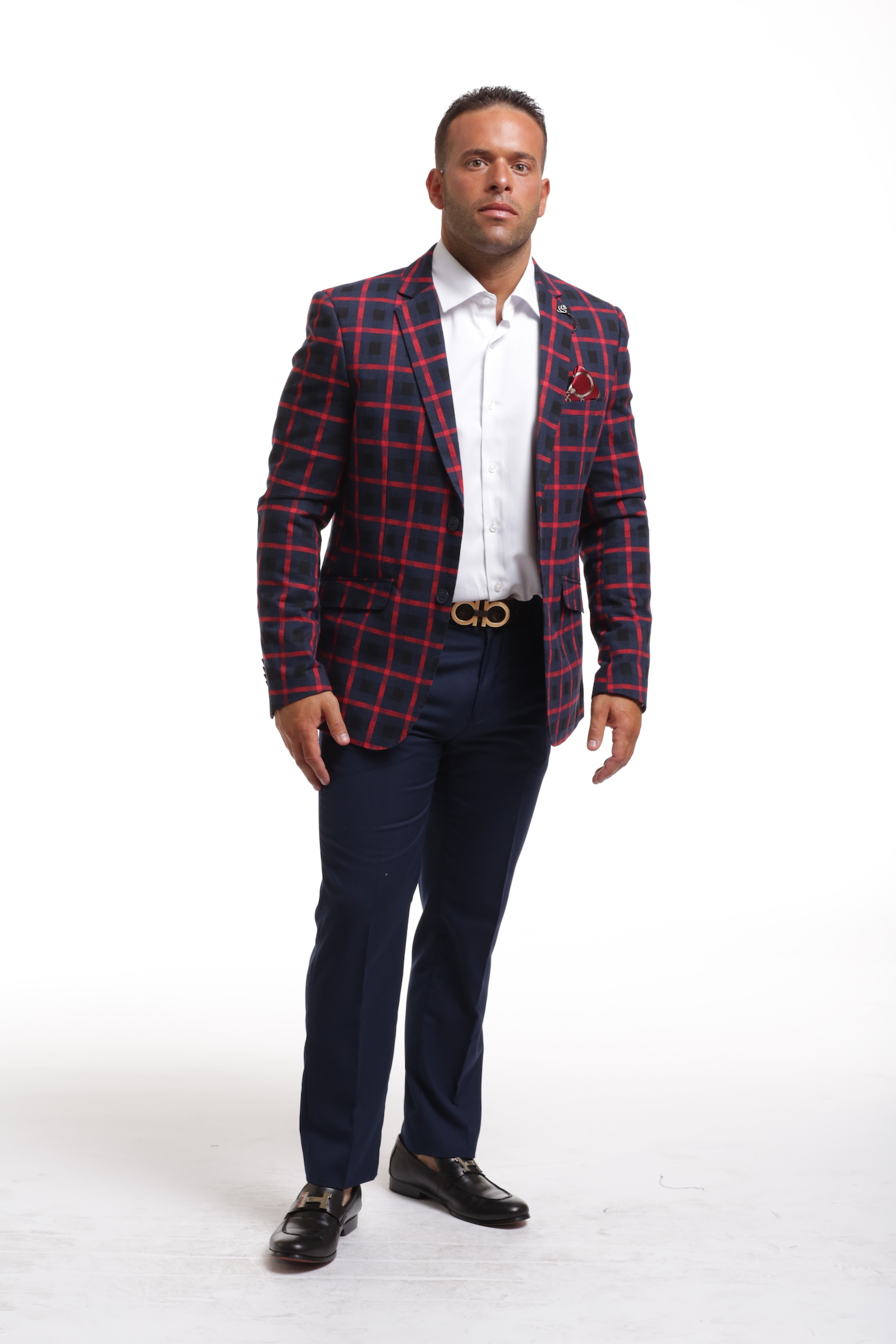Elie Balleh Wild Red Checkered Men's Blazers - Sports Coat Jacket