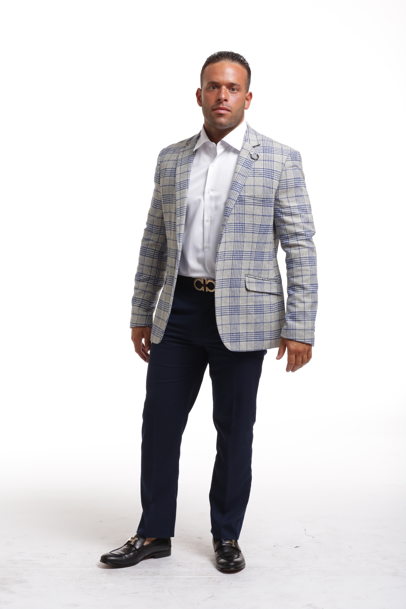 Elie Balleh Royal Grey Plaid Men's Blazers - Sports Coat Jacket