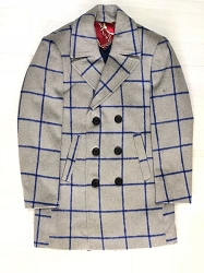 Elie Balleh Royal Grey Plaid Men/Coats