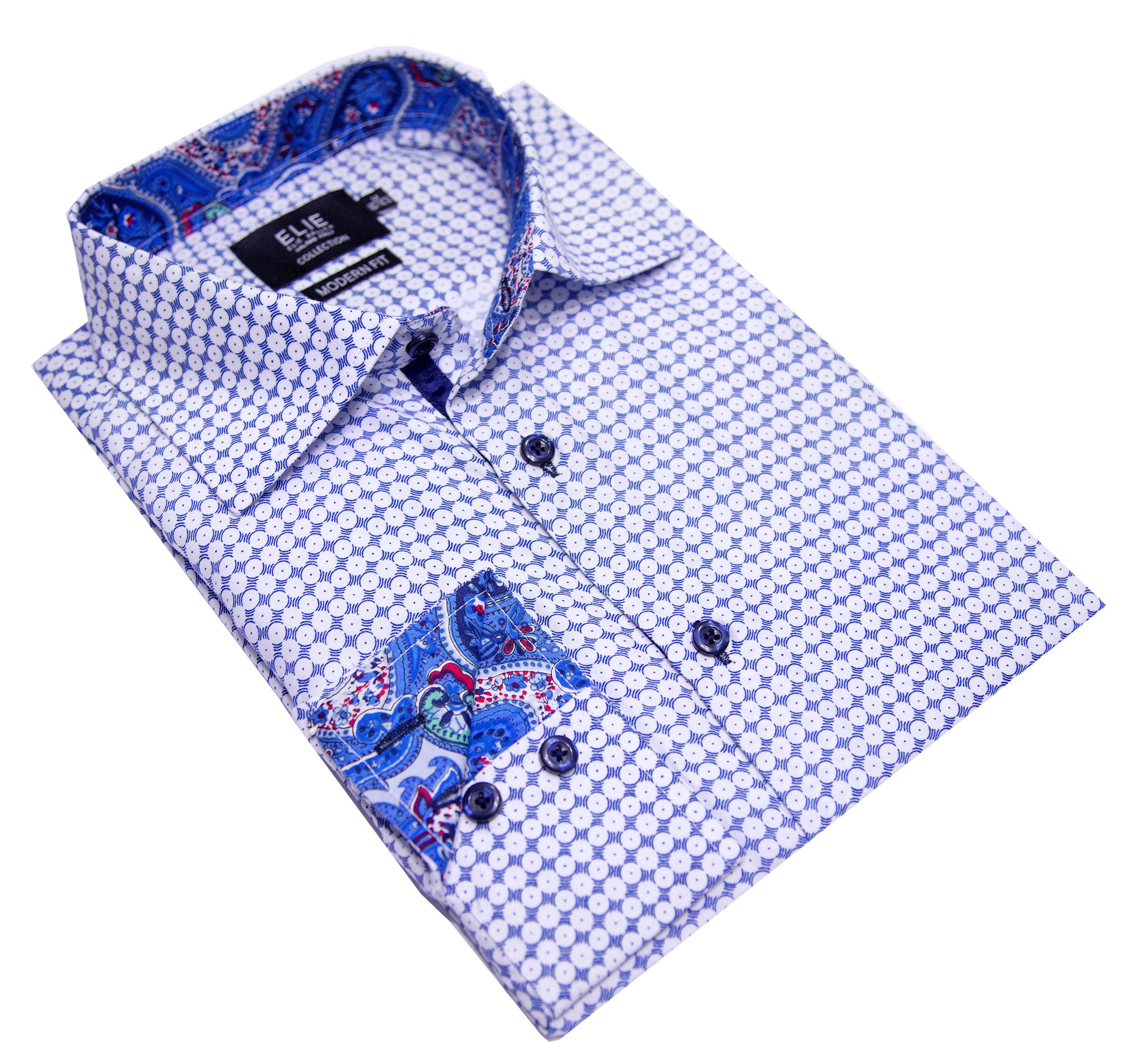 Blue&White Print Men's Shirts/Button Down CEBSH322M