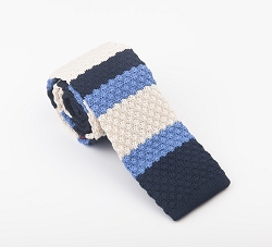 Elie Balleh Knit Strips Blue Boys Tie