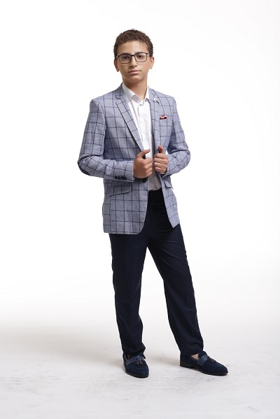 Elie Balleh Modern Checked Patern Boy's Blazers - Sports Coat Jacket