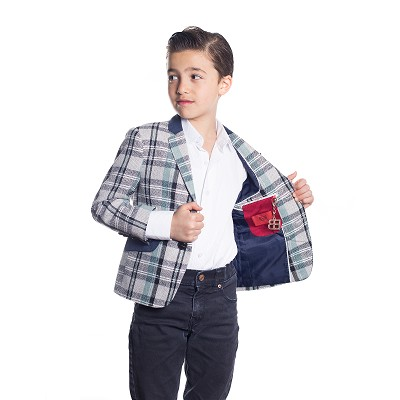 Elie Balleh Wild Plaid Boys Blazers - Sports Coat Jacket