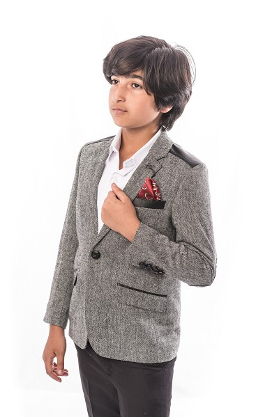 Elie Balleh Tweed And Leather Boys Blazers - Sports Coat Jacket