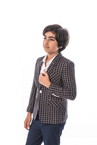 Elie Balleh Small Check Design Boys Blazers - Sports Coat Jacket