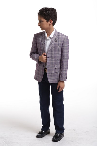 Elie Balleh Plaid Boy's Blazers - Sports Coat Jacket