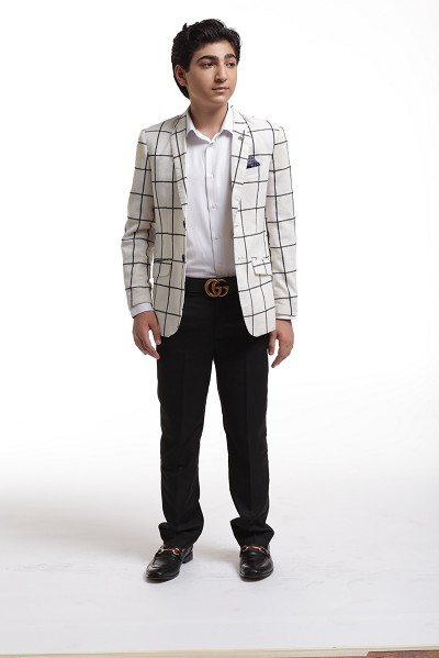 Elie Balleh Embroidered Plaid Boys's Blazers - Sports Coat Jacket