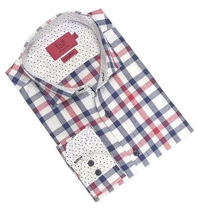 Elie Balleh Big Plaids Boy's Dress Casual Button Down Shirts