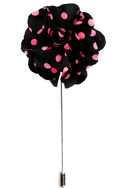 Elie Balleh Black/Pink Boys/Men's Flower Lapel Pin