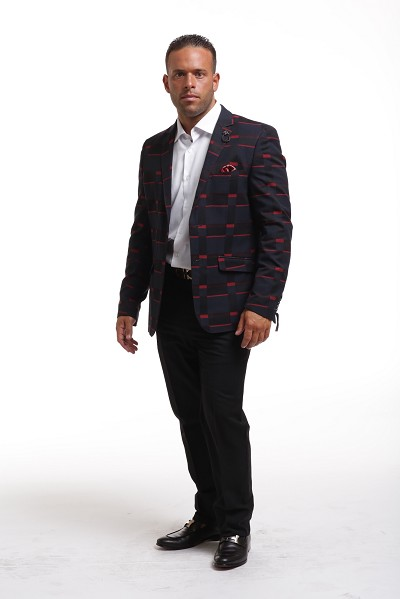 Elie Balleh Red Navy Black Plaid Men's Blazers - Sports Coat Jacket