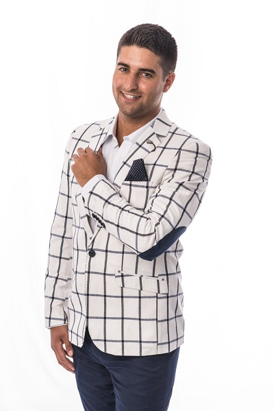 Elie Balleh Big Checkerboard Men Blazers - Sports Coat Jacket