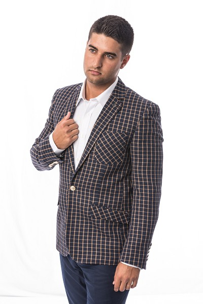Elie Balleh Small Check Design Men Blazers - Sports Coat Jacket
