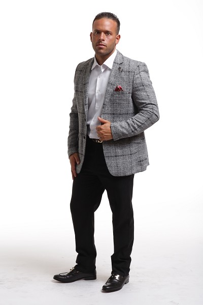 Elie Balleh Wool Checkered Tweed Men's Blazers - Sports Coat Jacket