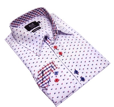 Elie Balleh Geometric Navy Men's Shirts/Button Down