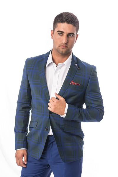 Elie Balleh Plaid Men Suits