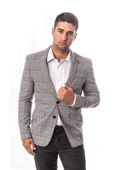 Elie Balleh Checkered Men Suits