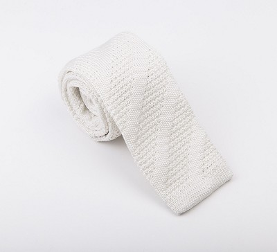Elie Balleh Knit Solid White Boys Tie