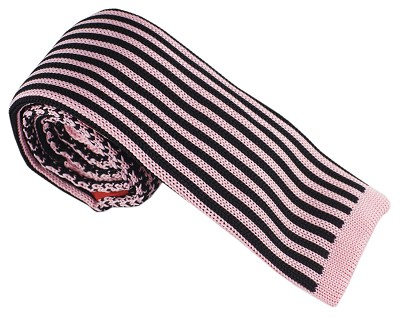 Elie Balleh Knit Hounds Tooth & Strips Pink Mens Tie