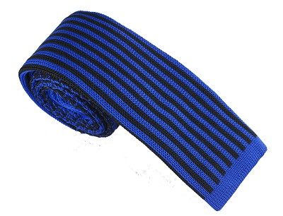 Elie Balleh Knit Hounds Tooth & Strips Royal Boys Tie