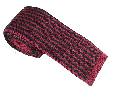 Elie Balleh Knit Hounds Tooth & Strips Wine Boys Tie