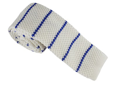Elie Balleh Knit Strips White Boys Tie