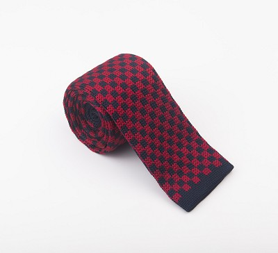 Elie Balleh Knit Checkerboard Navy Boys Tie