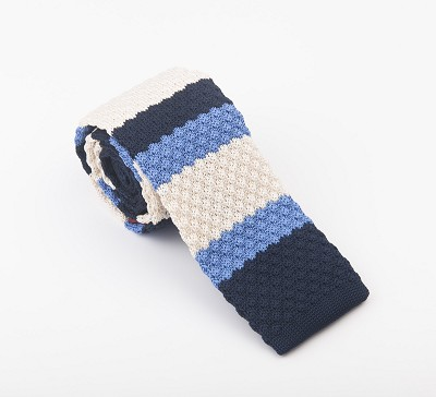 Elie Balleh Knit Strips Blue Mens Tie